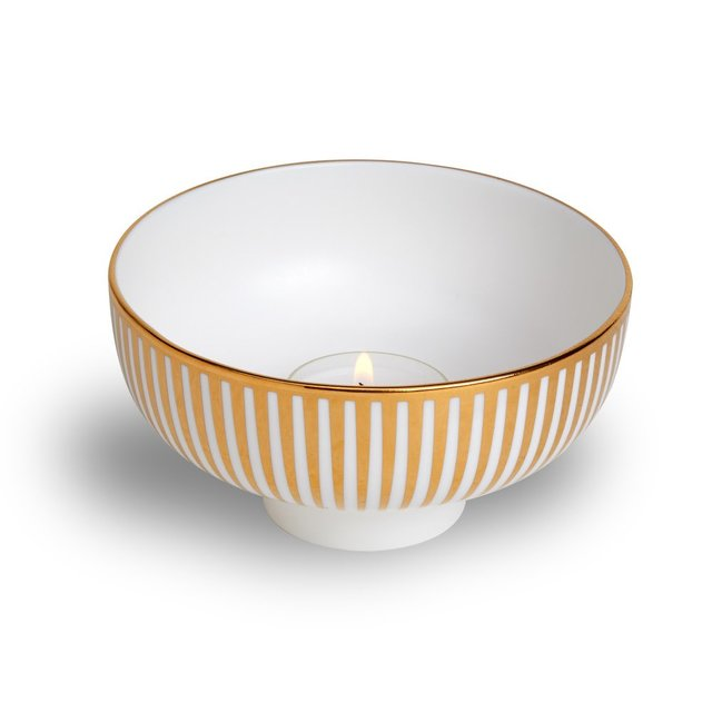 Gold stripe tealight | Lustre Collection with Bethan Gray | 1882 Ltd.